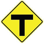 T INTERSECTION Sign - 30 X 30 Diamond Shape - Choose from Type I Engineer Grade Prismatic Reflective or Type III Prismatic High Intensity Reflective