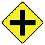 CROSS ROAD INTERSECTION Sign - 30 X 30 Diamond Shape, Choose from Type I Engineer Grade Prismatic Reflective or Type III Prismatic High Intensity Reflective