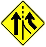 ADDED RIGHT LANE Symbol SIGN - 30 X 30 Diamond Shape - Type I Engineer Grade Prismatic Reflective or Type III Prismatic High Intensity Reflective