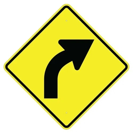 RIGHT CURVE Sign - Choose - 24 X 24 or 30 X 30 Diamond Shape, Choose Type I Engineer Grade Prismatic Reflective or Type III Prismatic High Intensity Reflective