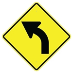 LEFT CURVE ARROW Sign - Choose - 24 X 24 or 30 X 30 Available - Type I Engineer Grade Prismatic Reflective or Type III Prismatic High Intensity Reflective