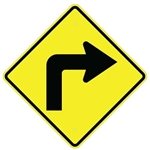 TURN RIGHT (Arrow Symbol) Sign - 24 X 24 or 30 X 30 Diamond Shape, Choose from Type I Engineer Grade Prismatic Reflective or Type III Prismatic High Intensity Reflective