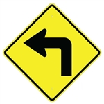 SHARP LEFT TURN Symbol Sign - 24 X 24 or 30 X 30 Diamond Shape, Choose from Type I Engineer Grade Prismatic Reflective or Type III Prismatic High Intensity Reflective
