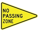 NO PASSING ZONE Sign - 36 X 48 X 48 - Type I Engineer Grade Prismatic Reflective or Type III Prismatic High Intensity Reflective