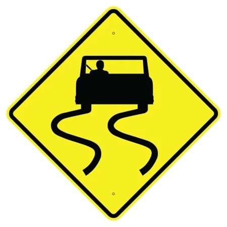 "ROAD SLIPPERY WHEN WET SYMBOL Sign - Choose 24"" X 24"", 30"" X 30"" or 36"" X 36"" Engineer Grade, High Intensity or Diamond Grade Reflective Aluminum"