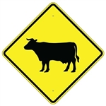 "CATTLE CROSSING SYMBOL Sign - Diamond Shape, 24"" X 24"", 30"" X 30"" or 36"" X 36"" Engineer Grade, High Intensity or Diamond Grade Reflective Aluminum."