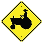 "TRACTOR & FARM MACHINERY CROSSING SYMBOL Sign  - Choose 24"" X 24"", 30"" X 30"" or 36"" X 36"" Engineer Grade, High Intensity or Diamond Grade Reflective Aluminum."