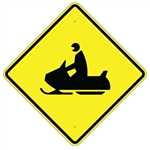"SNOWMOBILE CROSSING (SYMBOL) SIGN - 24"" X 24"", 30"" X 30"" or 36"" X 36"" Engineer Grade, High Intensity or Diamond Grade Reflective Aluminum."