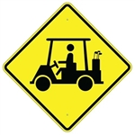 "GOLF CART CROSSING (Symbol) Sign - Choose 24"" X 24"", 30"" X 30"" or 36"" X 36"" Engineer Grade, High Intensity or Diamond Grade Reflective Aluminum."