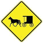 "HORSE DRAWN CARRIAGE SYMBOL Sign 24"" X 24"", 30"" X 30"" or 36"" X 36"" Engineer Grade, High Intensity or Diamond Grade Reflective Aluminum."