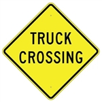 "TRUCK CROSSING SIGN - 24"" X 24"", 30"" X 30"" or 36"" X 36"" Engineer Grade, High Intensity or Diamond Grade Reflective Aluminum."