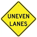 "UNEVEN LANES SIGN - 24"" X 24"", 30"" X 30"" or 36"" X 36"" Engineer Grade, High Intensity or Diamond Grade Reflective Aluminum"