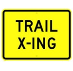 TRAIL CROSSING Sign - 18 X 12 or 24 X 18 Available - Type I Engineer Grade Prismatic Reflective or Type III Prismatic High Intensity Reflective
