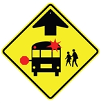 SCHOOL BUS STOP AHEAD SYMBOL Sign - 30 X 30 Diamond Shape, Type I Engineer Grade Prismatic Reflective or Type III Prismatic High Intensity Reflective
