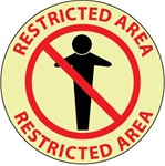 RESTRICTED AREA, 17 inch diameter, Glow in the Dark, Walk on floor sign