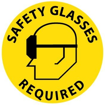 SAFETY GLASSES REQUIRED, 17 inch diameter, Walk on Floor Sign