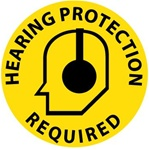 HEARING PROTECTION REQUIRED, 17 inch diameter, Walk on floor decal