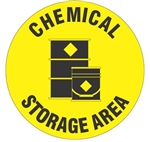 CHEMICAL STORAGE AREA, 17 inch diameter, Walk on floor sign