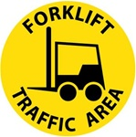 Non-Slip FORKLIFT TRAFFIC AREA, 17 inch diameter, Walk on floor sign