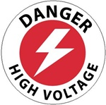 Non-Slip DANGER HIGH VOLTAGE, 17 inch diameter, Walk on floor decal