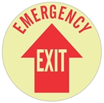 Non-Slip EMERGENCY EXIT, 17 inch diameter, Glow in the Dark, Walk on floor decal