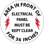 Non-Slip, Area in Front of Electrical Panel Must Be Kept Clear For 36 Inches Floor Decals, 17 inch diameter, Walk on floor decal