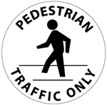 Non-Slip PEDESTRIAN TRAFFIC ONLY, 17 inch diameter, Walk on floor decal