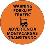 Non-Slip WARNING FORKLIFT TRAFFIC BILINGUAL, 17 inch diameter, Walk on floor decal