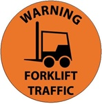 Non-Slip WARNING FORKLIFT TRAFFIC, 17 inch diameter, Walk on floor decal