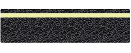 Anti-Slip Glow in the Dark STRIPE Grit Traction Treads, Black 6 x 24 Die-cut treads for stairs, walkway and ramps