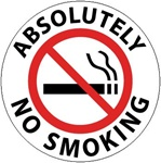 Non-Slip ABSOLUTELY NO SMOKING, 17 inch diameter, Walk on floor decal