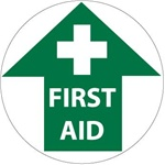 Non-Slip FIRST AID (Arrow) 17 inch diameter, Walk on floor decal