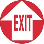 Non-Slip EXIT WITH ARROW, 17 inch diameter, Walk on floor decal