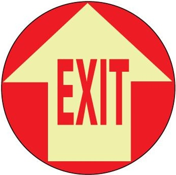 Non-Slip EXIT WITH ARROW, 17 inch diameter, Glow in the Dark, Walk on floor sign